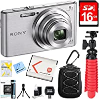 Sony DSC-W830 Cyber-shot 20.1MP Digital Camera (Silver) + 16GB Memory Card & Accessory Bundle