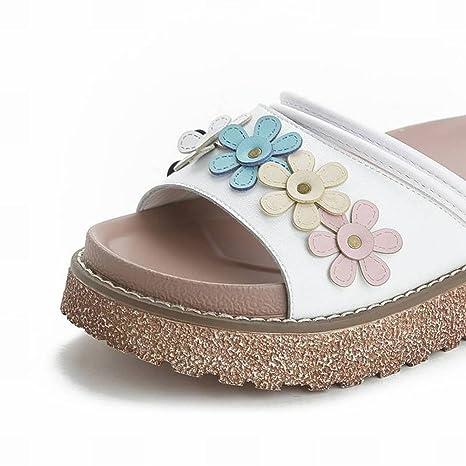 Plataforma de Corte de Cuero Zapatos Casuales de Playa Traje Zapatillas de Mujer Talla Única Adulto ...