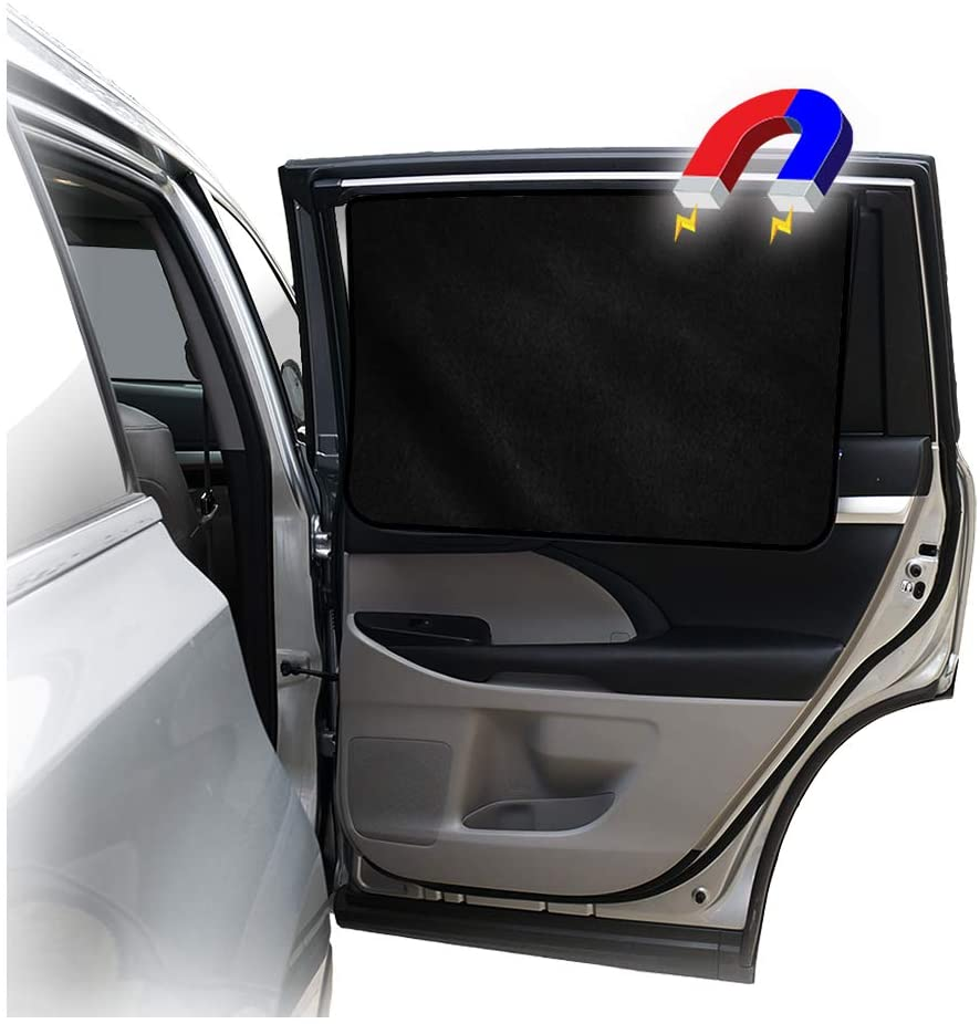1 Piece of Black Mesh and Heat ggomaART Car Side Window Sun Shade Universal Reversible Magnetic Curtain for Baby and Kids with Sun Protection Block Damage from Direct Bright Sunlight