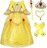 Princess Belle Deluxe Yellow Party Dress Costume (4-5, Style 3)