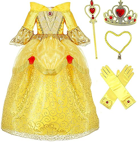Princess Belle Deluxe Yellow Party Dress Costume (7-8, Style 3)