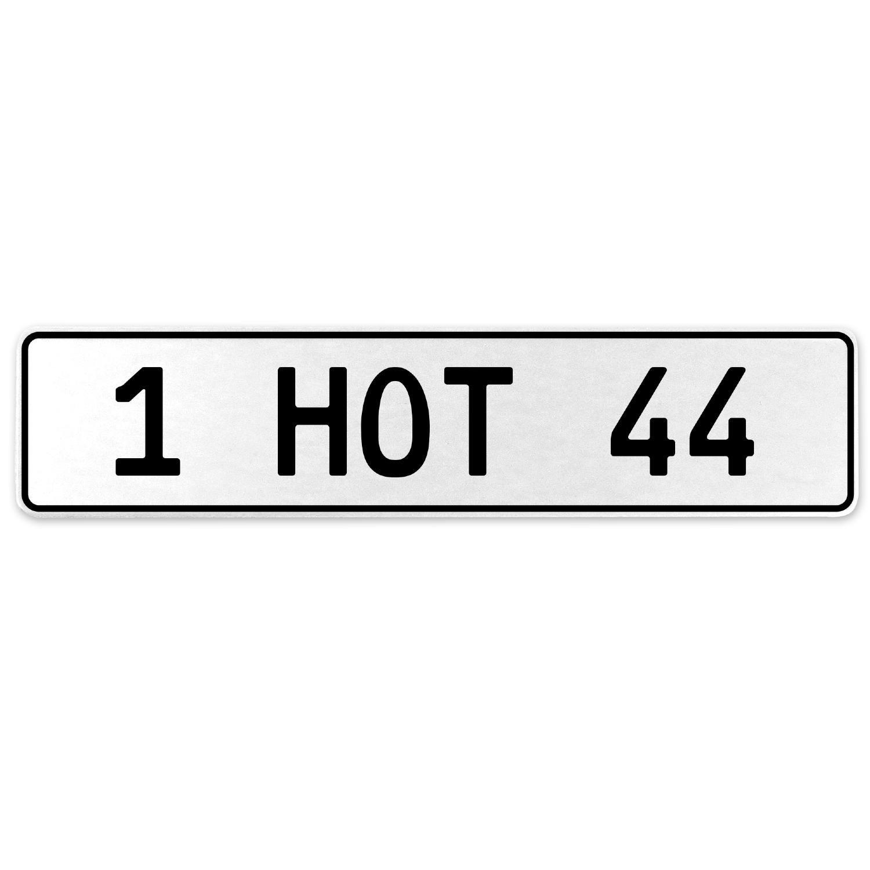 Vintage Parts 553552 1 HOT 44 White Stamped Aluminum European License Plate