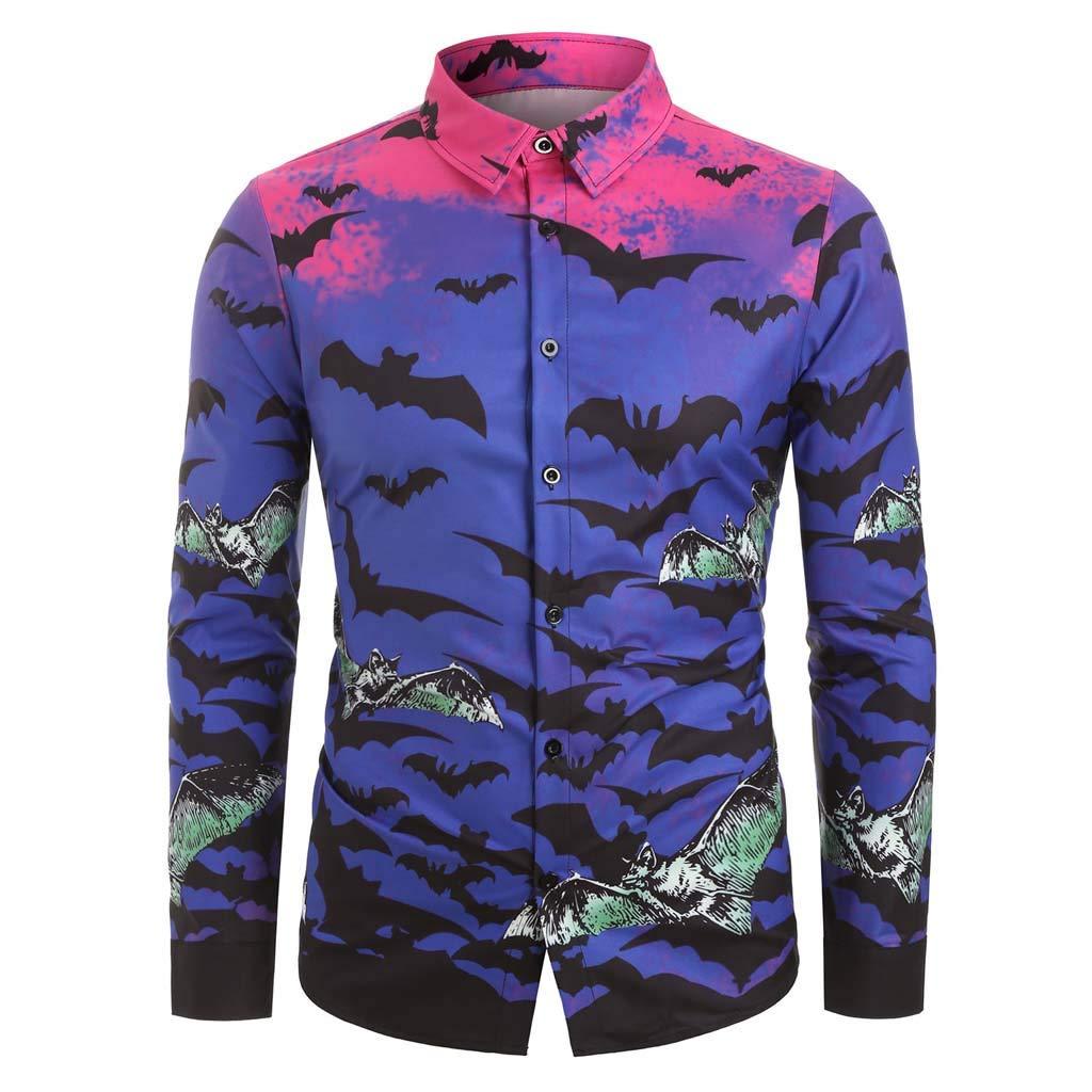 Fashion Men Halloween Autumn Winter Casual Turn-Down Button Pumpkin Bat Skull Print Long Sleeve Loose Top Blouse Shirt by QQ1980s