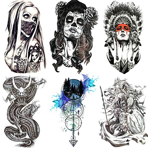 COKTAK 6 Pieces/Lot Large Black Dragon Temporary Tattoos Stickers For Men Boys Death Skull Anchor Arrows Waterproof Fake Tattoos For Women Arm Gangster Spartan Indian Warrior Tatoos Adult Armband