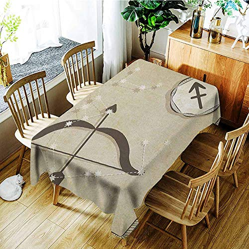 (XXANS Outdoor Tablecloth Rectangular,Zodiac Sagittarius,Hand Drawn Constellation with Silhouette of a Bow and Arrow,Table Cover for Dining,W60X102L Eggshell Dark)