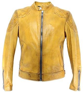 c1c90e4c48b BELSTAFF 71020740 Outlaw Yellow Vestes Hommes Beckham Cuir Jaune Nouveau