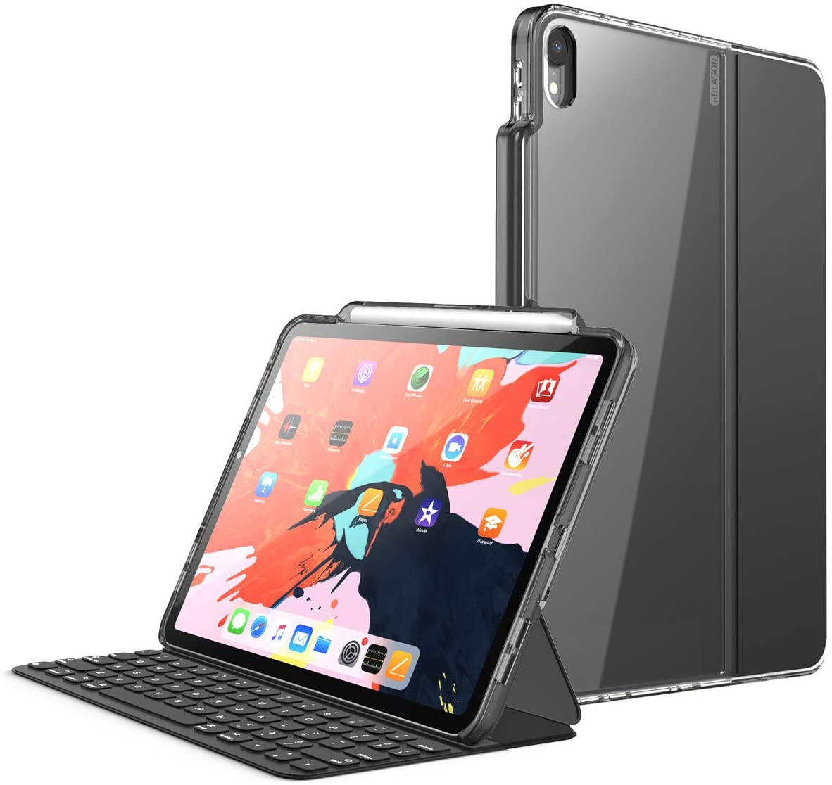 i-Blason Halo V2.0 Series Case Designed for iPad Pro 11 Inch Case 2018, [for use ONLY with Smart Keyboard; Compatible with Official Smart Folio] Hybrid Protective Case with Pencil Holder, Black, 11