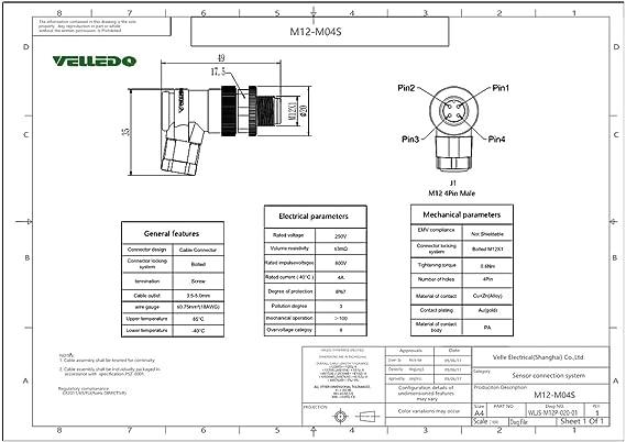 Amazon.com: VELLEDQ Industrial Field-wireable M12 Sensor Connector on