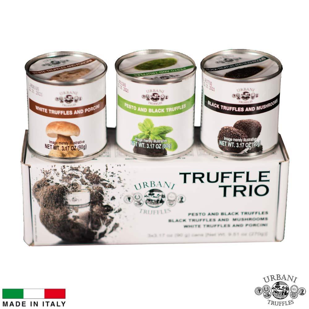 Truffle Sauce Thrills TRIO: Black Truffles and Mushrooms, Porcini and Truffles, Pesto and Black Truffles. 4oz Each.