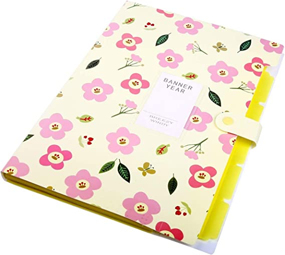 Floral Printed Akkordeon Dokumentenmappe Pink dehnbar
