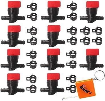 Huri 10x Kraftstoffhahn Benzinhahn Mit Schellen Für 6mm 8mm Schlauch Ersetzt B S Briggs Stratton 698183 494768 493960 491860 Wolf 2058063 2059063 Am36141 Am107340 Auto