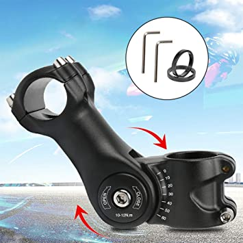 HOOMAGIC Potencia para Bicicleta 0~60° Ajustable Vástago de Bicicleta 31.8mm 110 mm Montaña Elevador de Manillar Extensor para Bicicleta de Carretera, MTB: Amazon.es: Deportes y aire libre
