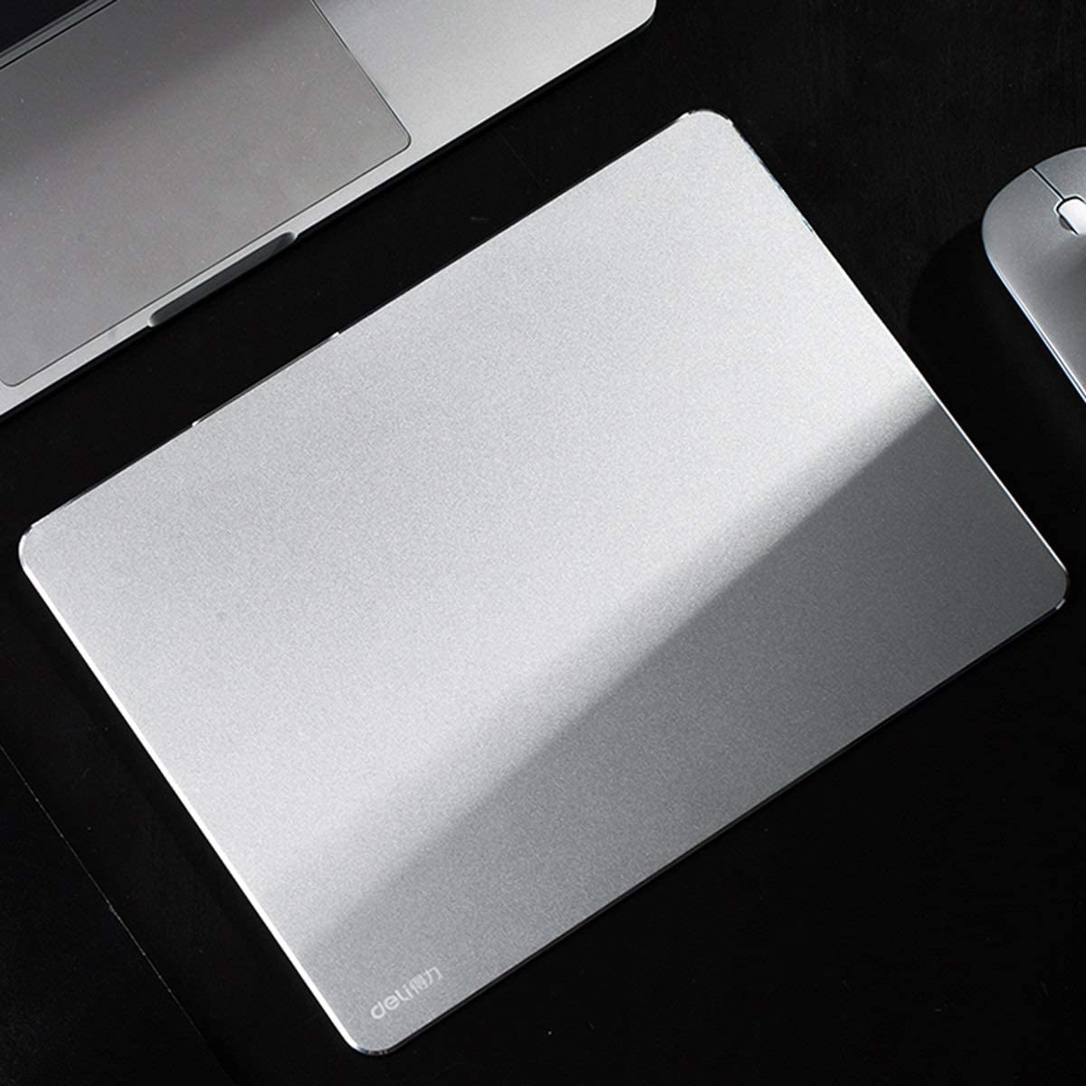 Metal Non-Slip Mouse Pad Office Game Aluminum Mouse Pad Silver Mouse Pad Color : Silver