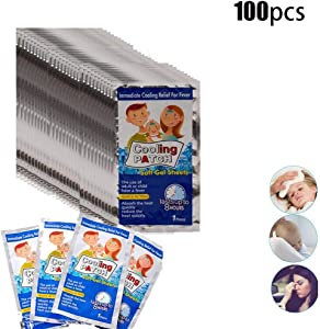 Fever Reducer Pad, Fever Cooling Patch,fever Cooling Patch, Discomfort Cooling Forehead Strips Relief Patch Temperature Ice Instant Cooling Sticker For Baby,adults (10/100pcs)