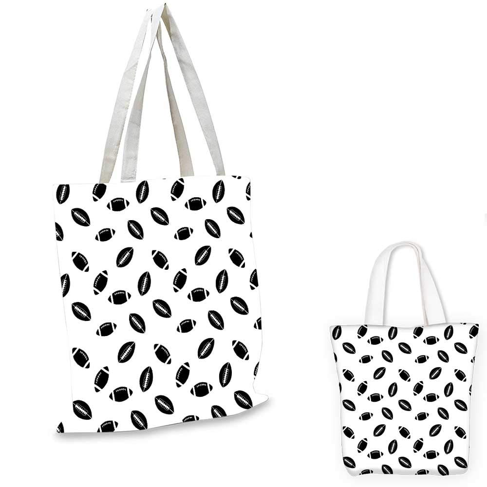 14x16-11 American Football canvas messenger bag Monochrome Pattern with Black Rugby Balls American Culture Sports Play foldable shopping bag Black White