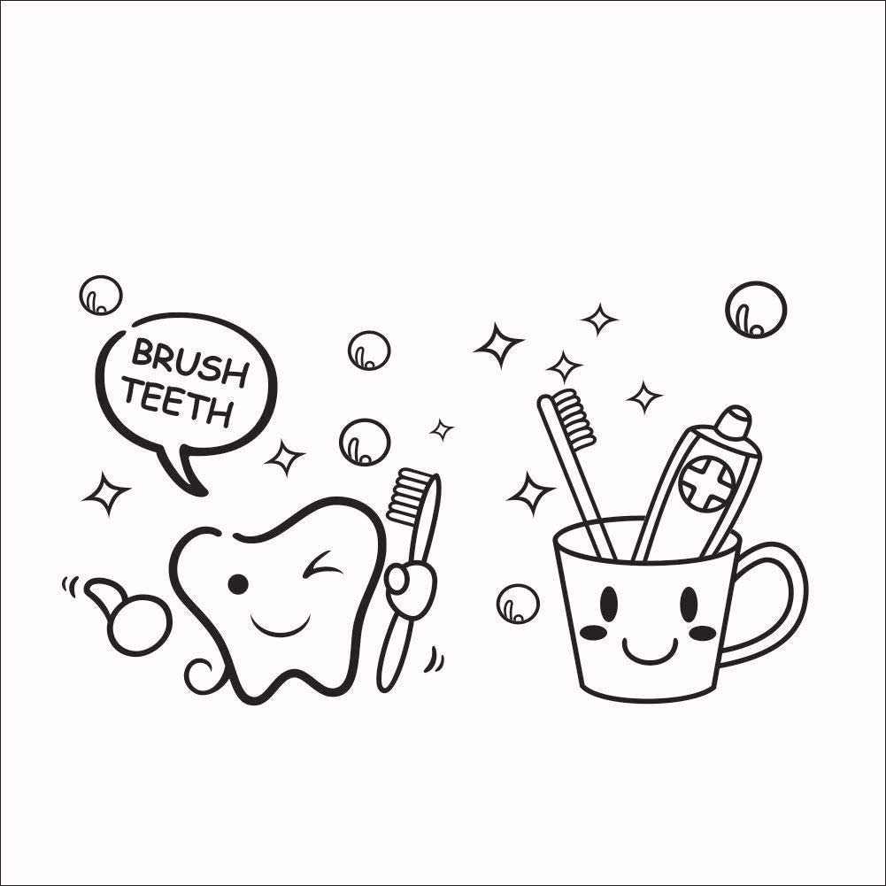 Brush Teeth Peel and Stick Wall Decals Tooth Toothbrush Toothpaste Glass DIY Sticker Decoration for Bathroom Washroom Decor