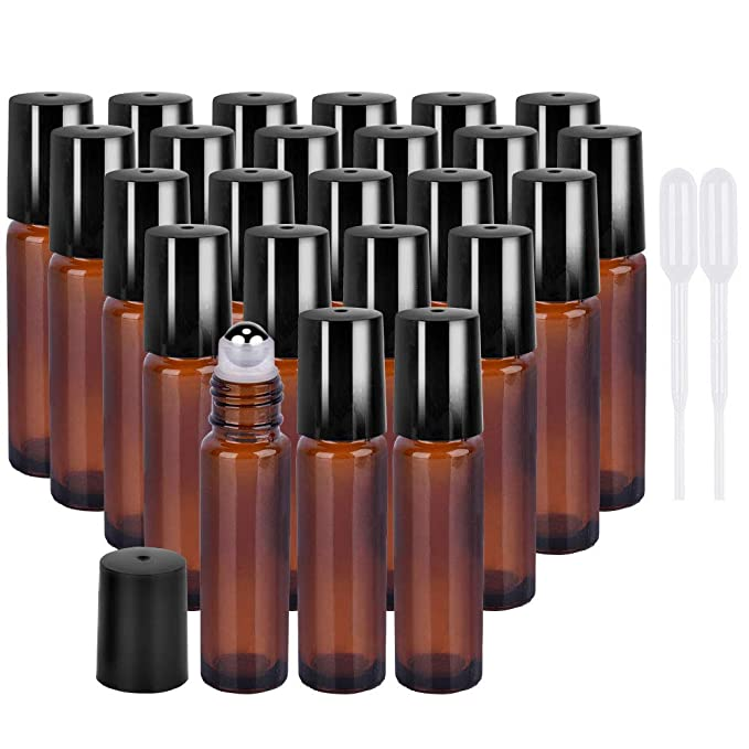 24 Pack 10 ml Amber Glass Roller Bottle Bottles with Stainless Steel Roller Balls. Glass Essential Oil Roller Bottles for Perfume Oils and Mosquito repellent liquid.