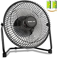 OPOLAR Biggest Battery ( Included TWO) Operated or USB Powered Fan, Rechargeable Desk Fan with 9 Inch Metal Frame, Enhanced Airflow, Lower Noise, Two Speeds, Personal Cooling Fan for Home & Office
