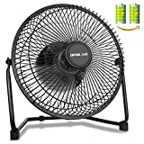 OPOLAR Biggest Battery Operated and USB Powered Fan with TWO batteries, Rechargeable Desk Fan with 9 Inch Metal Frame, Enhanced Airflow, Lower Noise, Two Speeds, Personal Cooling Fan for Home & Office