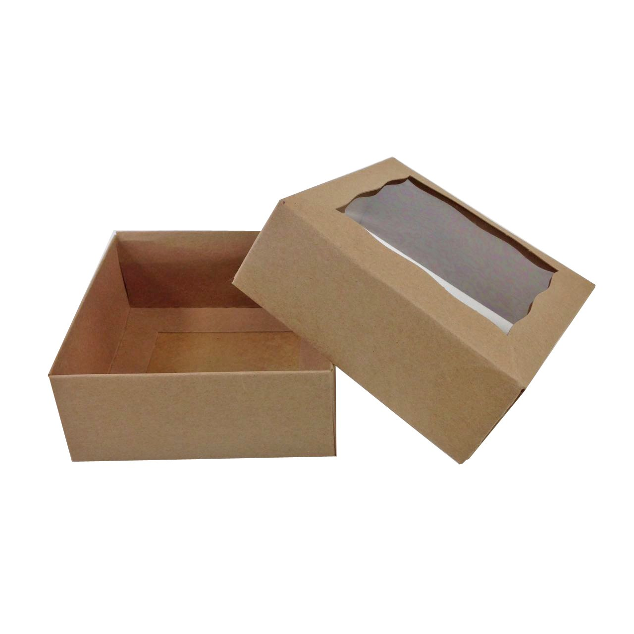 Black Cat Avenue 4'' x 4'' x 1 3/4'' Kraft Brown Cookie Gift Boxes with Window Chocolate Treat Favor Bakery Boxes, 5 Count
