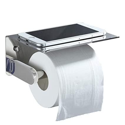 Chrome Toilet Paper Holder With Phone Shelf Aomasi Sus304 Stainless Steel Modern Tissue Paper Roll Hanger With Large Storage Rack