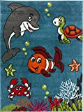 KC CUBS Boy and Girl Bedroom Modern Decor Pink Blue White Area Rug and Carpet Collection For Kids and Children (5' 3'' x 7' 3'', Clown Fish & Sea School Friends)
