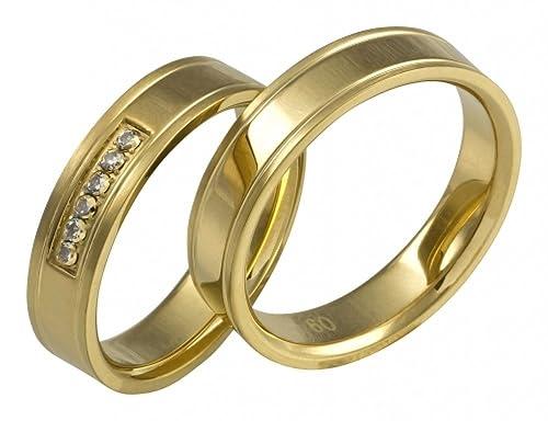 alianzas Partner AB1872 anillos Acero Inoxidable - 1873 con zirkoniav erlobungs anillos Incluye grabado: Amazon.es: Joyería