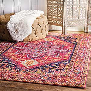 nuLOOM Traditional Vintage Katrina Blooming Rosette Area Rugs, 4' x 6', Pink