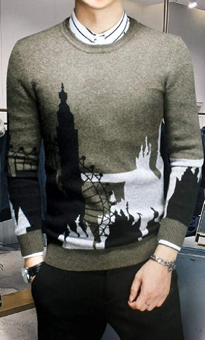 Jotebriyo Mens Winter Casual Knitted Floral Printed Warm Crew Neck Pullover Sweater