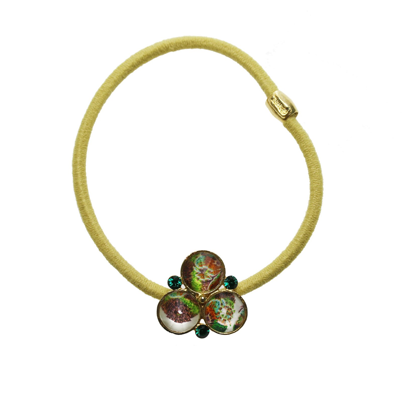 Tamarusan Ponytail Holder Small Size Pansy Yellow Green Unisex High-Grade