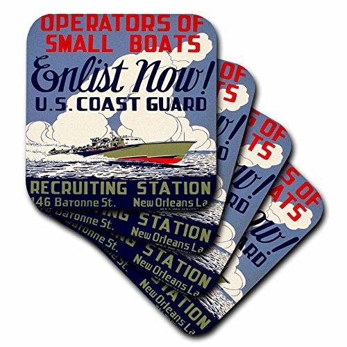 Coast Guard Mug (3dRose cst_171435_2 US Coast Guard Operators of Small Boats Enlist Now Recruiting Poster-Soft Coasters, Set of 8)