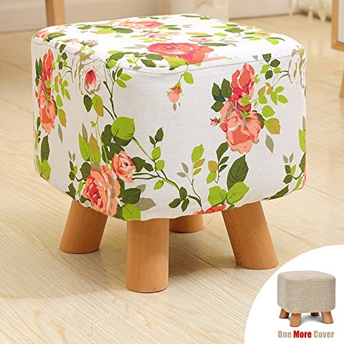 Sino Banyan Feet Stool/Ottomanwith 1 More Cover,Soft Quick Detachable Cushion,Joker Pattern,Big Red Flower & Beige