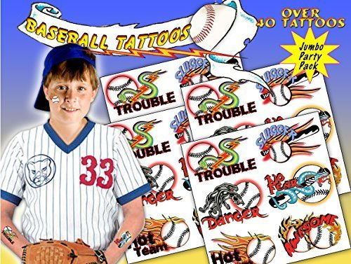 Baseball Temporary Tattoos - over 40 fun baseball themed Temporary Tattoos