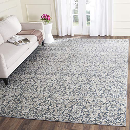 Safavieh Vintage Collection VTG437N Transitional Floral Damask Navy and Cream Distressed Area Rug 3 x 5