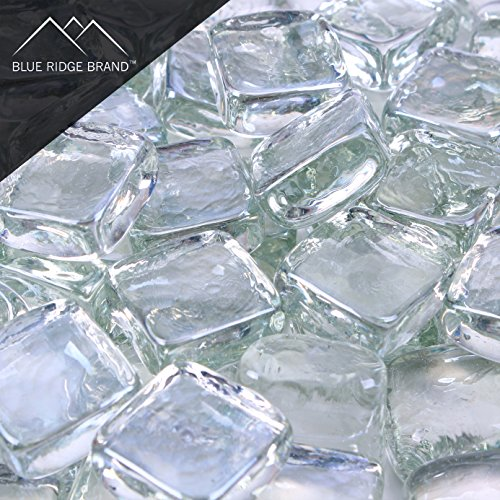 Blue Ridge Brand trade; Clear Reflective Fire Glass Cubes - 5-Pound Professional Grade Fire Pit Glass - 3/4'' Reflective Glass for Fire Pit and Landscaping by Blue Ridge Brand