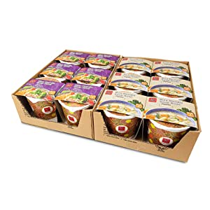 Asianmeals All Time Favorite Rice Noodle Soup Bowl, 6x Tom Yum Flavors, 6x Japanese Paitan Flavors, Authentic Taste, Gluten free, Japanese Food, Food Pantry, Ramen Noodles, White Pepper, 3.8oz each