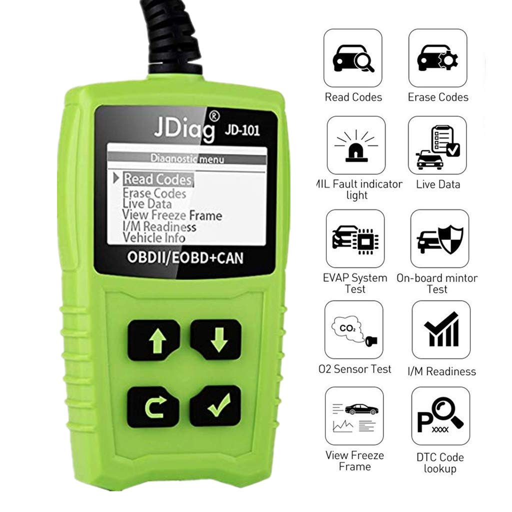 OBD2 Scanner, OBDKCAN JD101 OBDII Code Reader - Battery Tester Car CAN Diagnostic Scan Tool - Auto Check Engine Light Erase Fault Codes Suitable for EOBD/CAN Vehicles OBDKCAN-JD101
