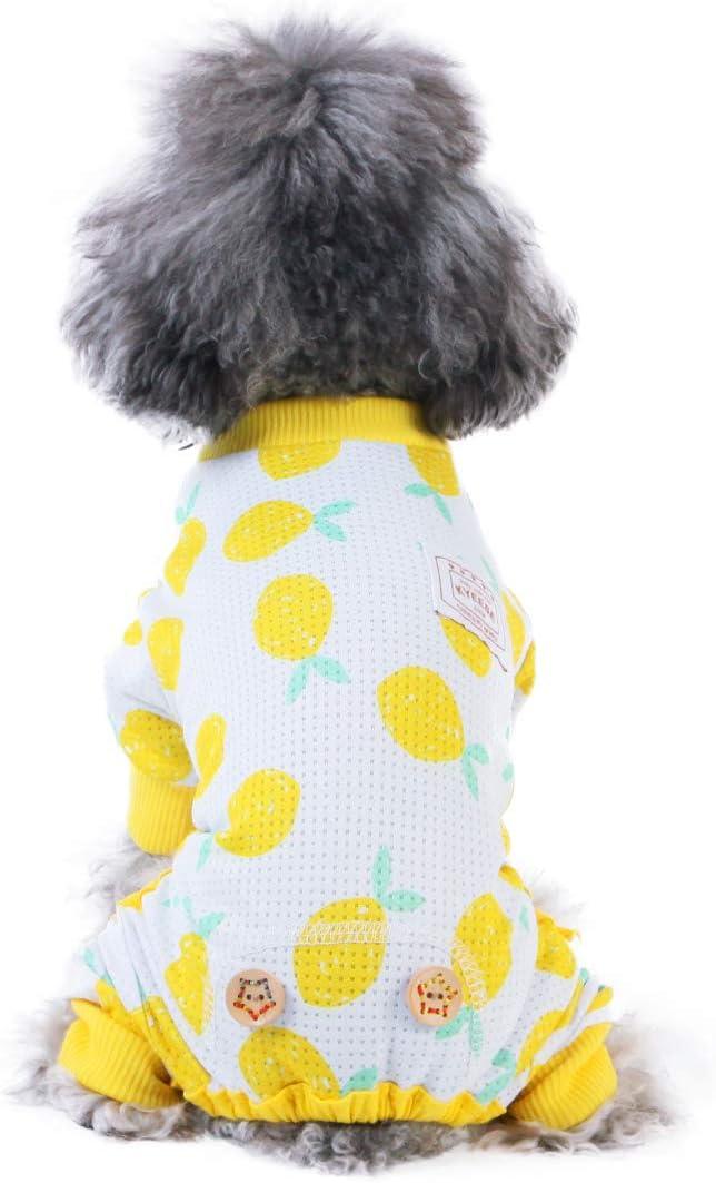 kyeese Dog Pajamas Stretchable Dog Pjs 4 Legs Pet PJS Lemon Lightweight Puppy Cat Pajama Onesie