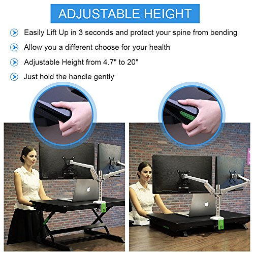 minicute Height Adjustable Standing Computer Desk Ergonomic Sit to Stand fits Dual Monitor Spring Riser 32'' Workstation Dual Monitor Desktop Lifter With Keyboard Tray For Office home- Black by MINICUTE (Image #5)