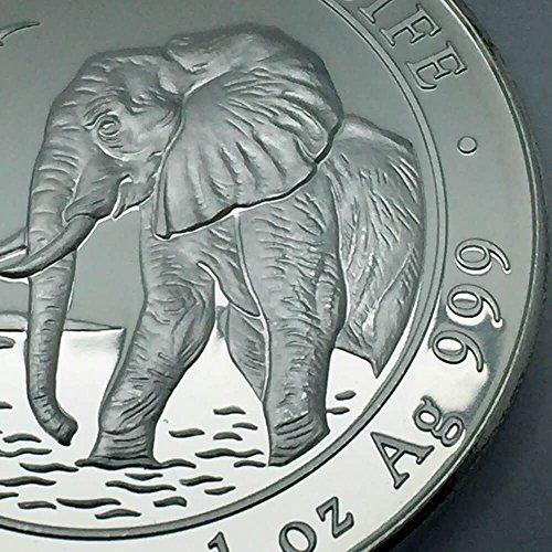 """'1oz Somalie–100schilling Argent """"Éléphant 2010–999/1000–gekapselt"""
