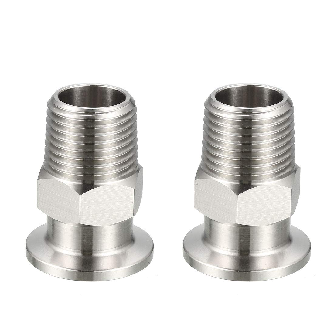 uxcell Sanitary Pipe Fitting KF16 Male Threaded 1/2 PT to Tri Clamp OD 30mm Ferrule 2 Pcs