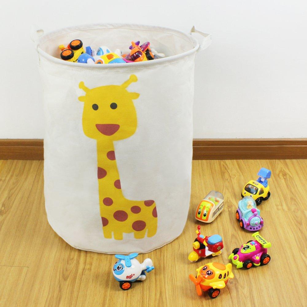 Cotton Canvas Kids Plush Toy Storage Bin, Waterproof Coating Fabric Laundry  Bag, Hamper, Collapsible Clothing Basket, ...