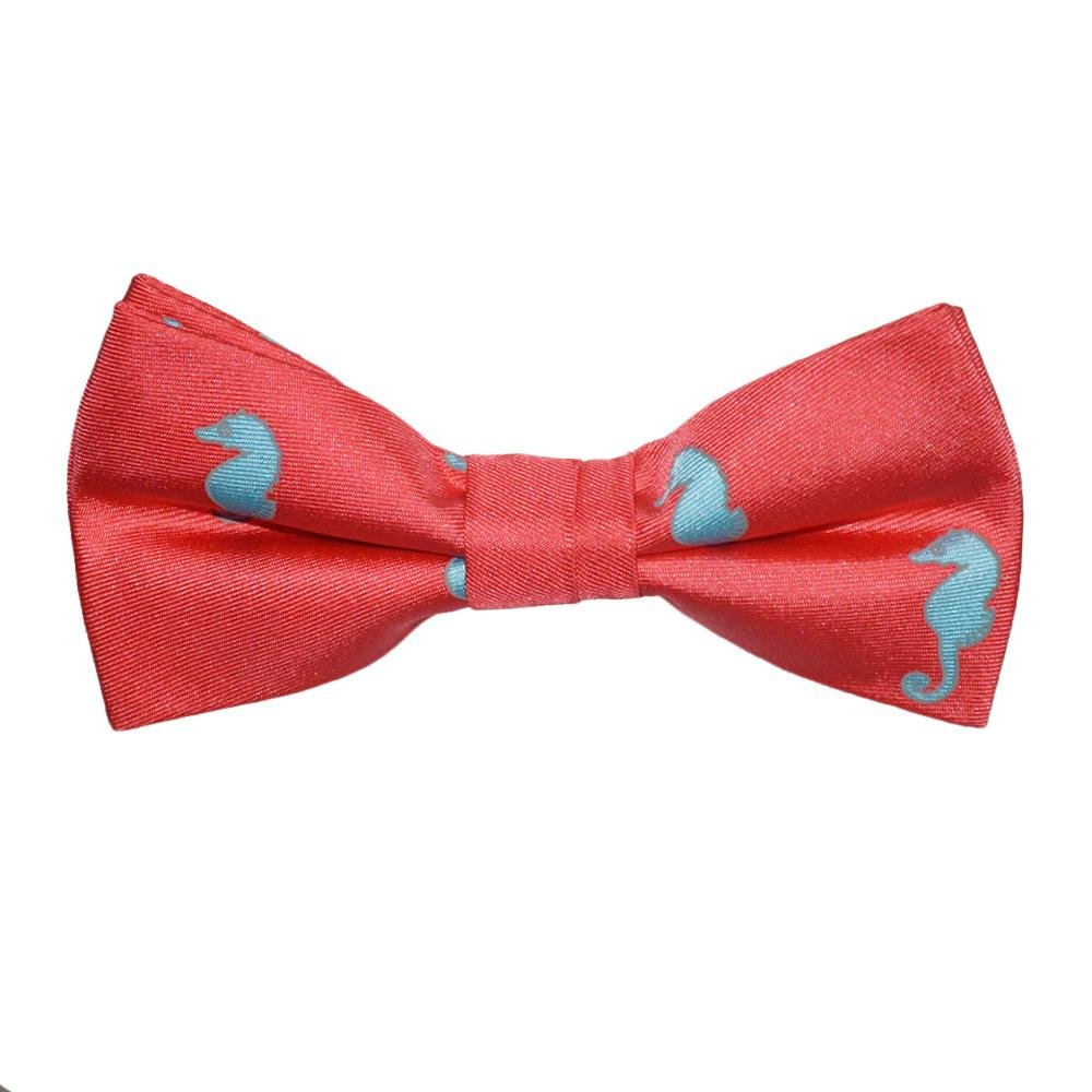 SummerTies Seahorse Kids Bow Tie - Light Blue on Coral, Printed Silk, Kids Pre-Tied