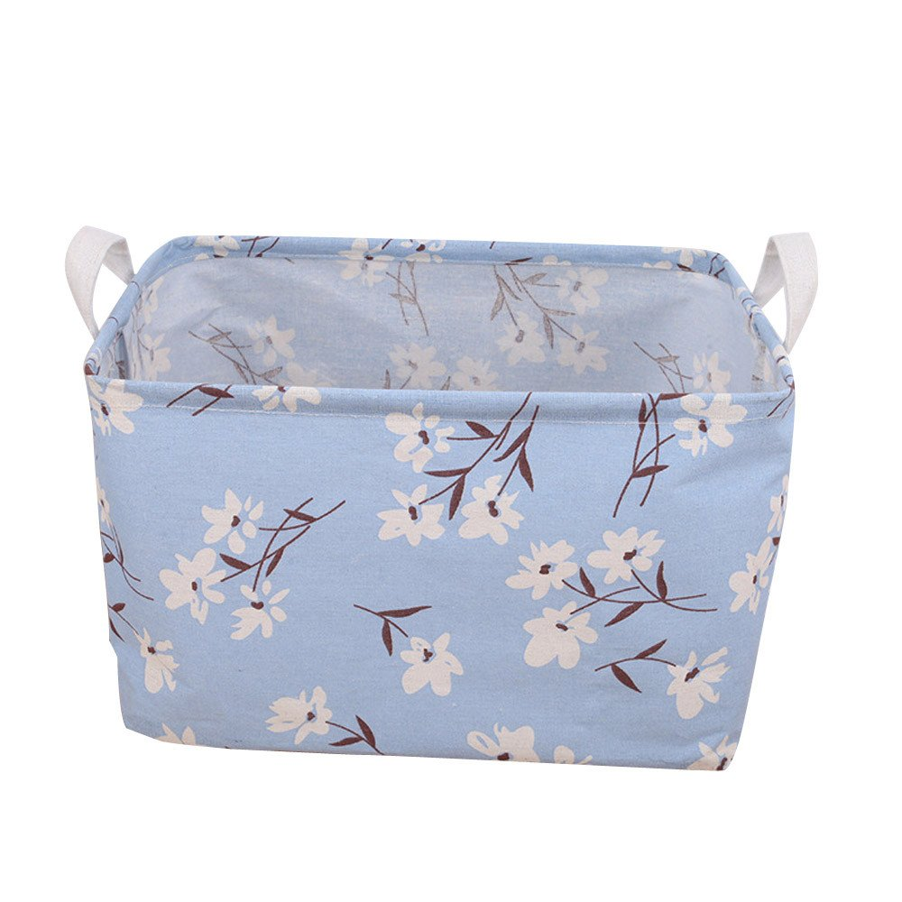 Desktop Storage Basket or Bin, Further Reductions! E-Scenery Durable Canvas Storage Cube Containers Organizers for Home Makeup, Small Items, Toys, Office, Stationery, 11 x 8 x 6 inches (C)