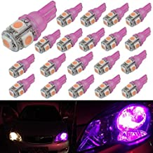 Senzeal 20X 5050 5SMD 194 LED Bulb T10 LED Marker Lights 921 912 168 W5W 161 LED Bulb for Clearance Lights Pink Purple