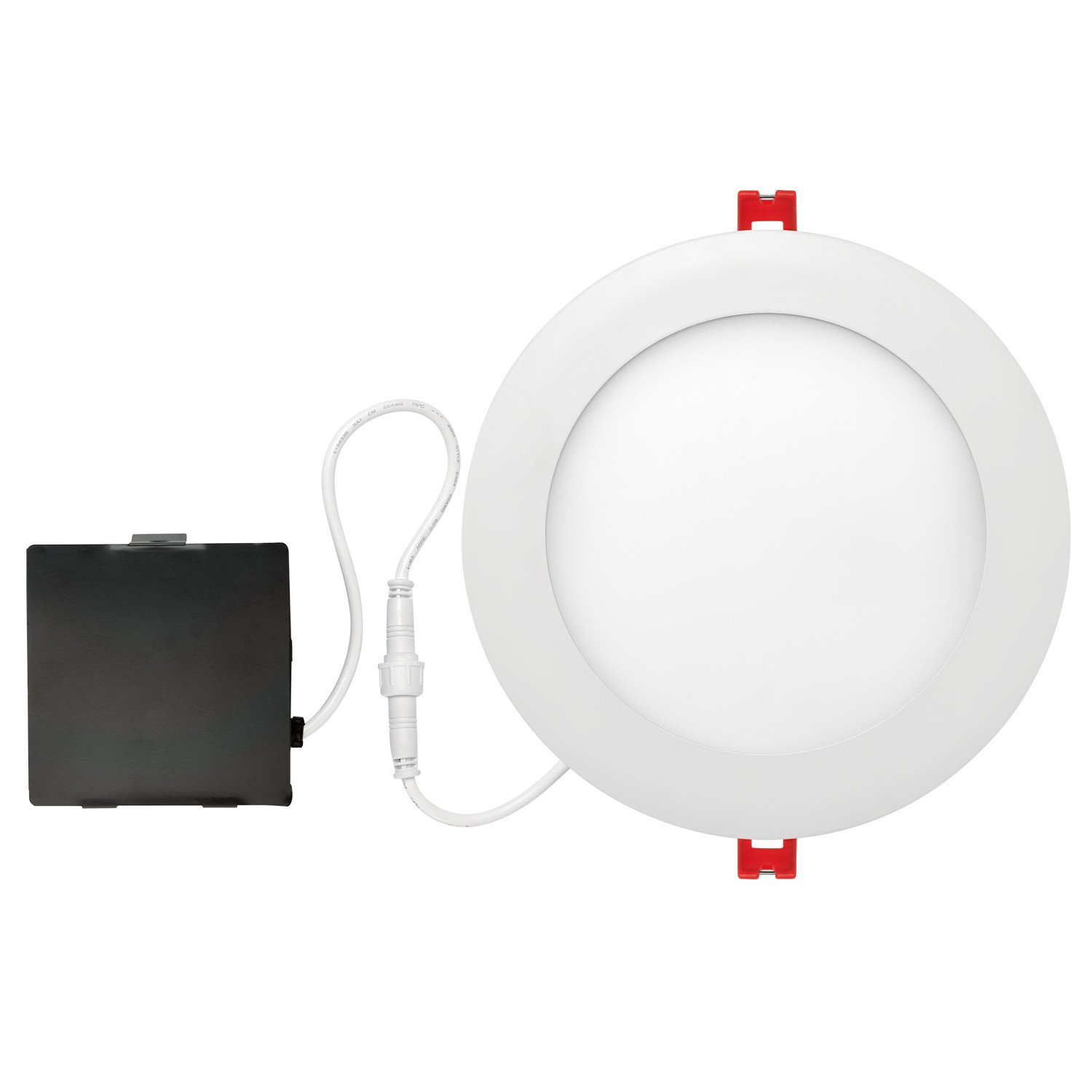 Globe Electric 6'' LED Integrated Ultra Slim Recessed Lighting Kit, 12 Watts, Energy Star, IC Rated, Dimmable, Wet Rated, Fixed Flood, White Finish, 90933