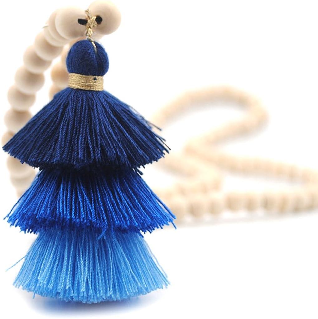 Huyiko - Collar de madera natural con perla redonda para ropa, bolsos y colgantes, cadena larga de decoración, para mujeres y niñas