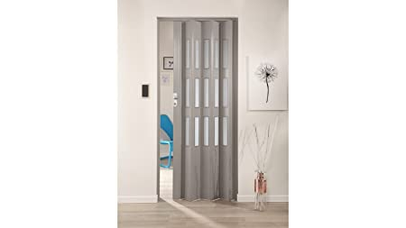 Forte Plastic Folding Door Elvira, Grey, with 3 Frosted Windows 87 ...