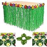 Adorox 1 Table Skirt Hawaiian Luau Hibiscus Green Table Skirt 9ft Party Decorations (Green (1 Table Skirt))