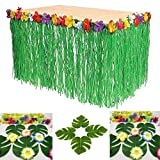 : Adorox 1 Table Skirt Hawaiian Luau Hibiscus Green Table Skirt 9ft Party Decorations (Green (1 Table Skirt))